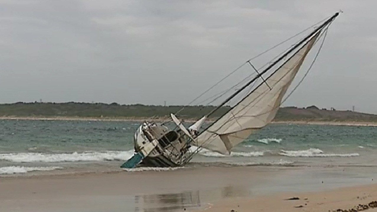 The capsized yacht today. Picture: Nine News Sydney