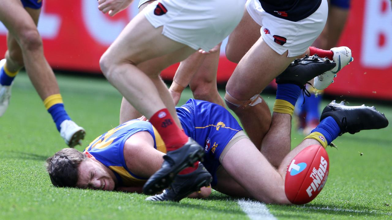 Jeremy McGovern hits the deck during the preliminary final win over Melbourne. Pic: Michael Klein