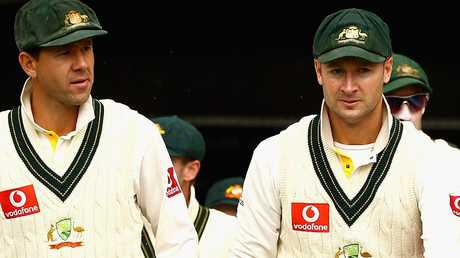 Michael Clarke (right) has admitted he wasn't a good vice-captain to captain Ricky Ponting (right). Picture: Getty Images