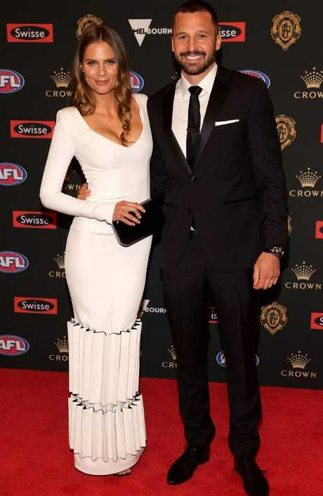 Emma Giles and Jarryn Geary of the Saints arrive at the 2018 Brownlow Medal count.