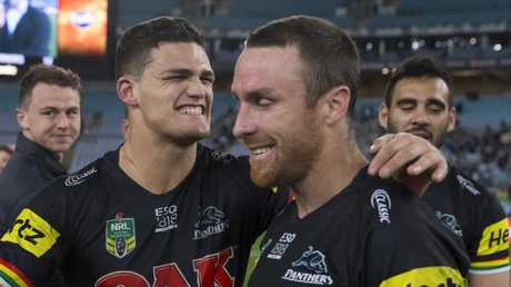 Nathan Cleary with halves partner James Maloney. Picture: AAP