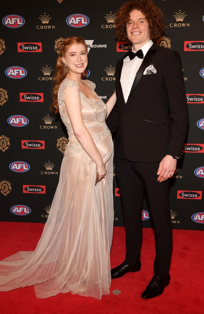 Hestor Brown and Ben Brown of the Kangaroos arrive ahead of the 2018 Brownlow Medal.