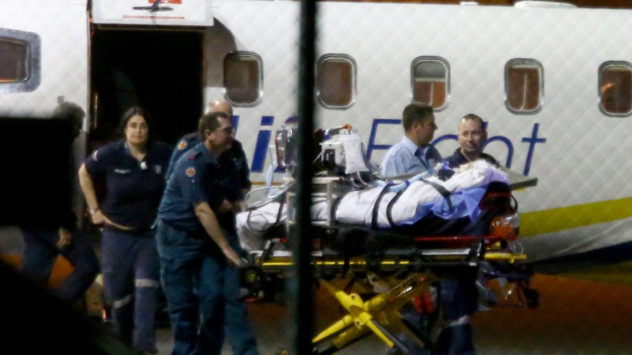 Shark attack victim Justine Barwick was flown to Brisbane for extensive surgery. Picture: AAP/David Clark