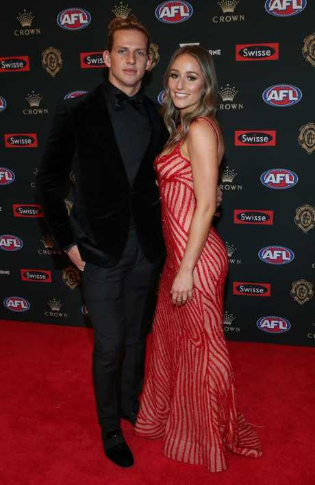 Nathan Fyfe of Fremantle with partner Elli Brayshaw.