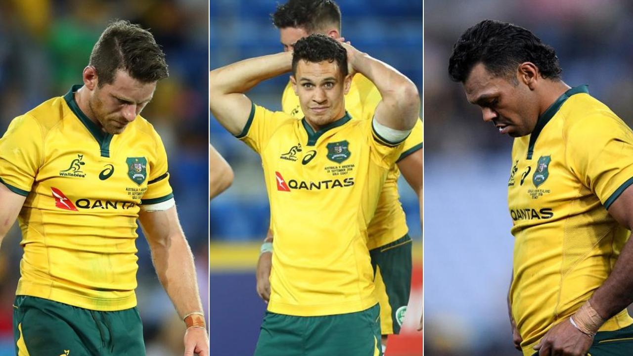 Three Wallabies halves into two won't go: (L-R) Bernard Foley, Matt Toomua and Kurtley Beale.