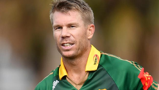 David Warner takes a break during his knock for Sydney club side Randwick Petersham. (AAP Image/Joel Carrett)