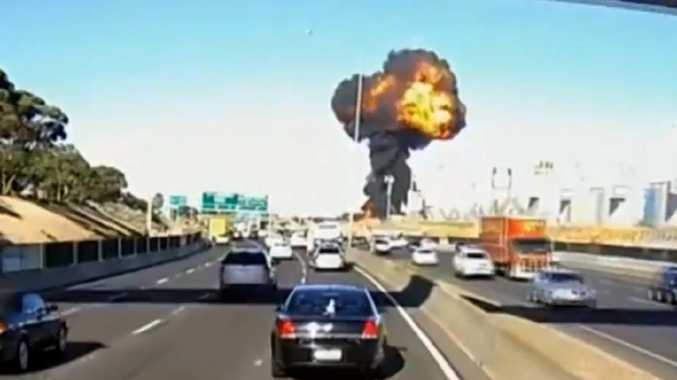 Dashcam footage captures the deadly Essendon plane crash on February 21, 2017.