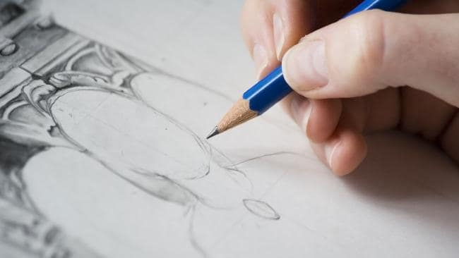 The man said 'probably one-tenth of it' was for his hobby as a pencil sketcher.