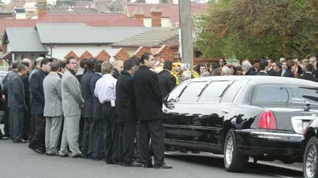 Family funeral for the Pasquale Barbaro shot alongside Melbourne gangster Jason Moran in 2003.