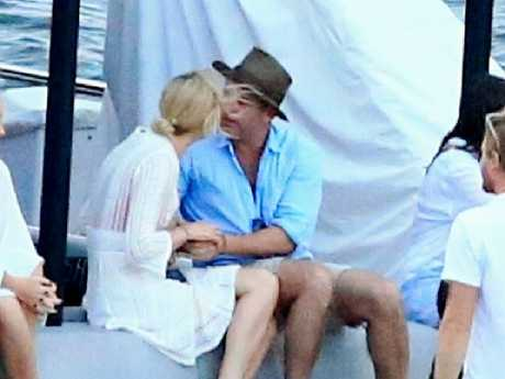 Karl Stefanovic with girlfriend Jasmine Yarbrough on Sydney Harbour in February 2017. Picture: Adam Taylor