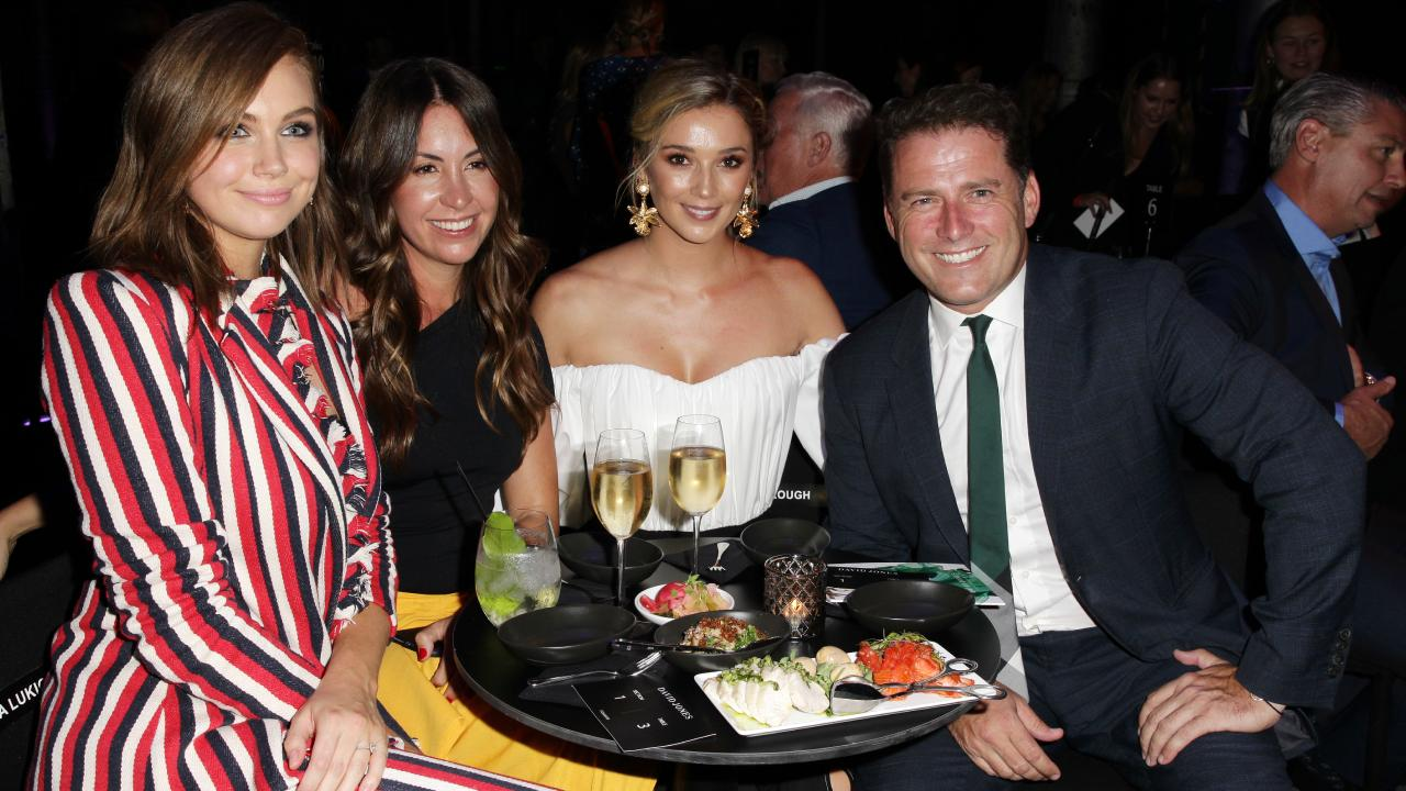 Ksenija Lukich, Tamie Ingham, Jasmine Yarbrough and Karl Stefanovic at the David Jones Autumn Winter Collections Launch. Picture: Christian Gilles