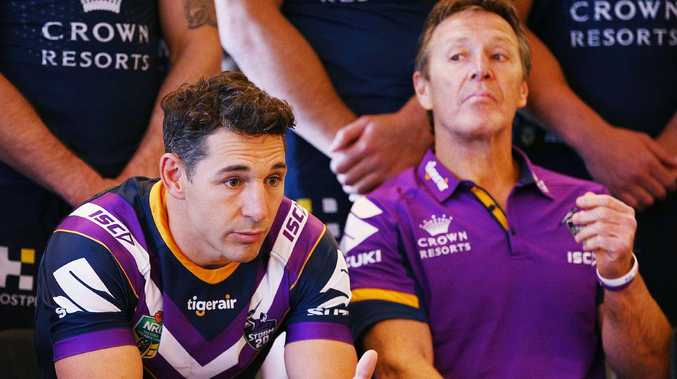Billy Slater with coach Craig Bellamy at Storm's media day. Picture: Getty Images