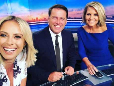 Georgie Gardner at her first day back at work with co-host Karl Stefanovic and Sylvia Jeffreys. Picture: Instagram