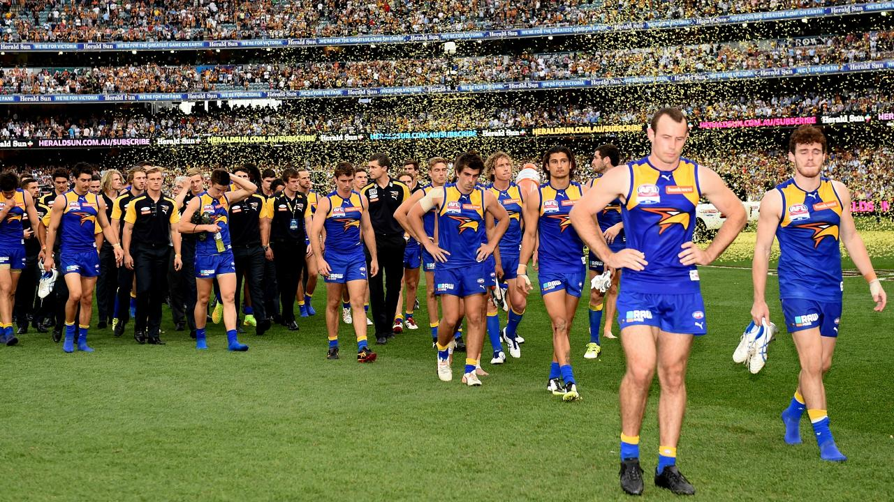 The 2015 Grand Final was a dirty day for West Coast. Picture: Nicole Garmston