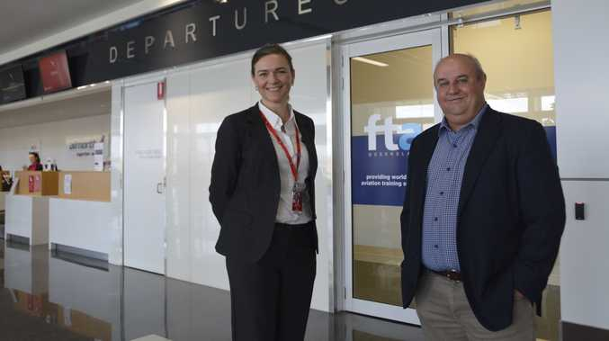 Wellcamp Airport general manager Sara Hales and Flight Training Adelaide Queensland managing director Johan Pienaar welcome the first wave of student pilots in Toowoomba.