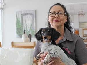 Tina Souvlis and Nashi the dachshund