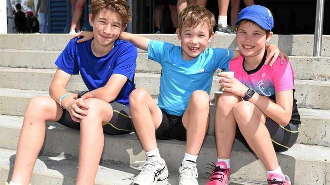 Robert, 12, Thomas, 8, and Asta, 10, James clocked up 30 kms between them.