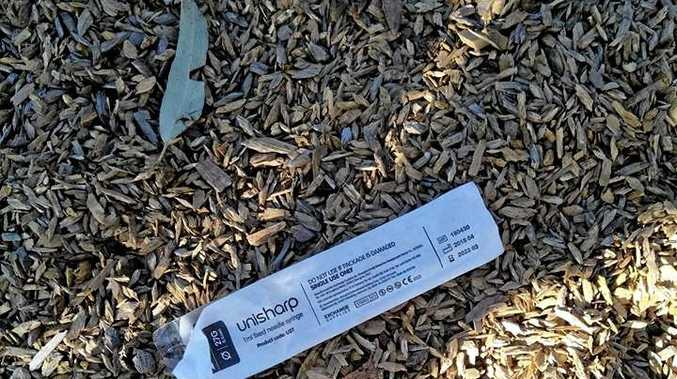 SHOCK FIND: A resident posted a photo of needles and needle packets found at Lake Ellen yesterday.
