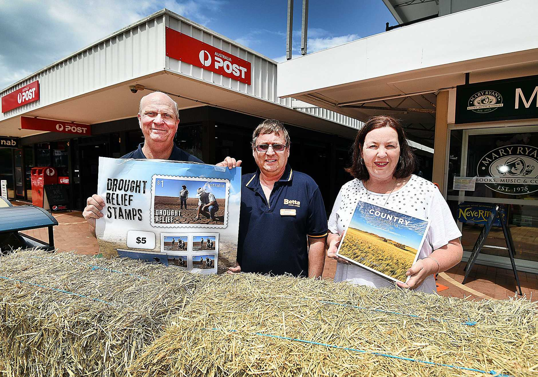 DROUGHT RELIEF: Torquay business owners Cr Rolf Light (Torquay Post Office), Martin Fraser (Betta Home Living) and Cate Akaveka (Mary Ryan's) are sending profits to farmers.