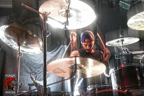 From Crisis to Collapse drummer Marco Penniello during the gig at The Northern in Byron Bay. Photo Asagai Images