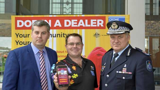 SPEAK UP: Launching the Dob in a Dealer campaign are (from left) Police Minister Mark Ryan, Crime Stoppers Queensland general manager Jonathon Cowley and Southern Region Assistant Commissioner Mike Condon.