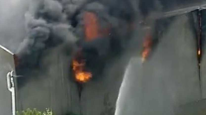 A factory is on fire in Campbellfield. Picture: Seven News