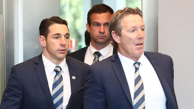 Billy Slater arrives with Craig Bellamy ahead of his judiciary hearing. Picture: Getty