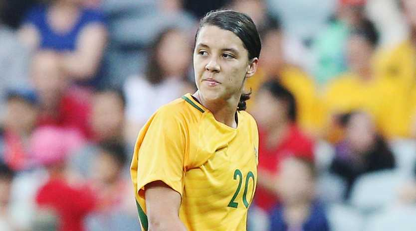 GEELONG, AUSTRALIA - NOVEMBER 26: Sam Kerr of the Matildas reacts after the match was stopped due to lightning during the Women's International match between the Australian Matildas and China PR at Simonds Stadium on November 26, 2017 in Geelong, Australia. (Photo by Michael Dodge/Getty Images)