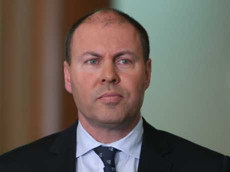 Treasurer Josh Frydenberg speaking at a doorstop at Parliament House in Canberra. Picture: Kym Smith