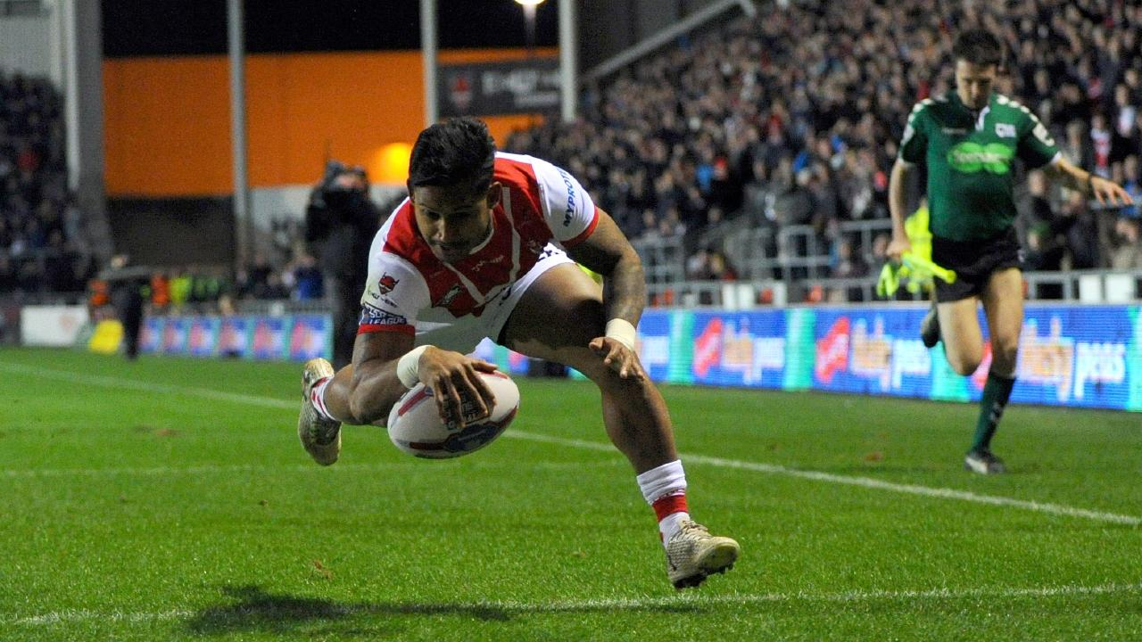Cowboys recruit Ben Barba scores for St Helens during a Super League match against Castleford earlier this year.