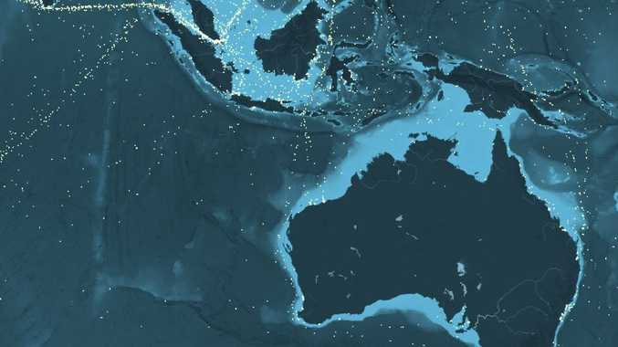 A snapshot of shipping flowing to and from Australia, and through the region, from www.shipmap.org