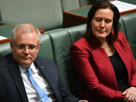 Prime Minister Scott Morrison and Minister for Women Kelly O'Dwyer at Parliament House in Canberra. Picture: AAP
