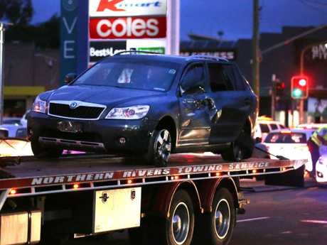 The stolen vehicle involved in the in police pursuit which ended outside Tweed City. Photo: Scott Powick Daily News