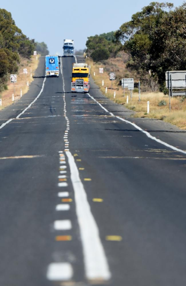 Police busted a truck driver carrying $2.4 million in cash on this stretch of the Sturt Highway in April 2017. Picture: Nicole Garmston