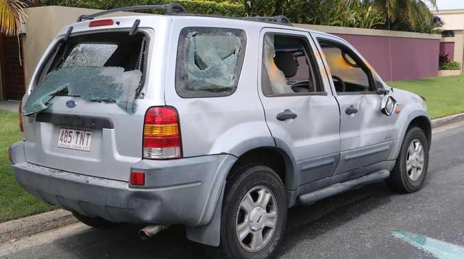 A trashed car in Fiesta Ave Isle of Capri, the scene of the stabbing. Picture Glenn Hampson