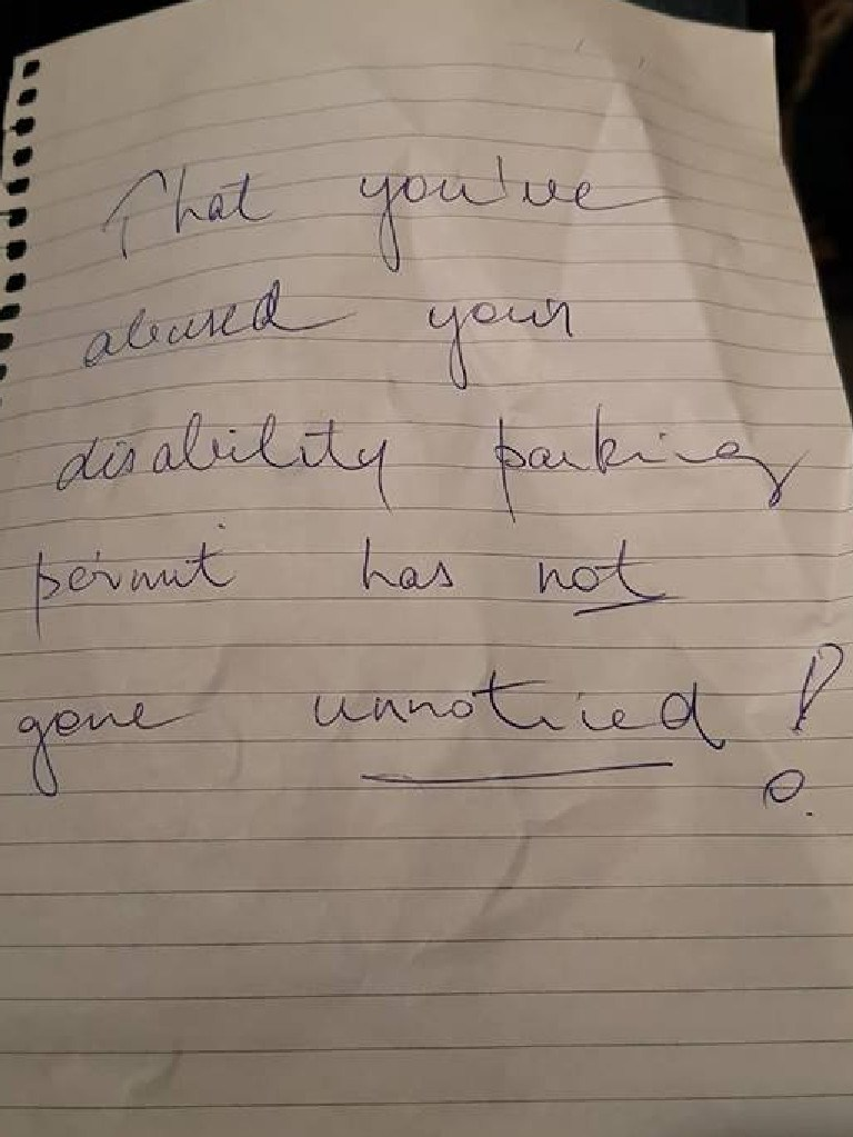 The anonymous note left on Serena Jeanneret's car.