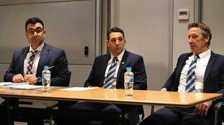 Slater sits with coach Craig Bellamy during the hearing. (AAP Image/Brendan Esposito)