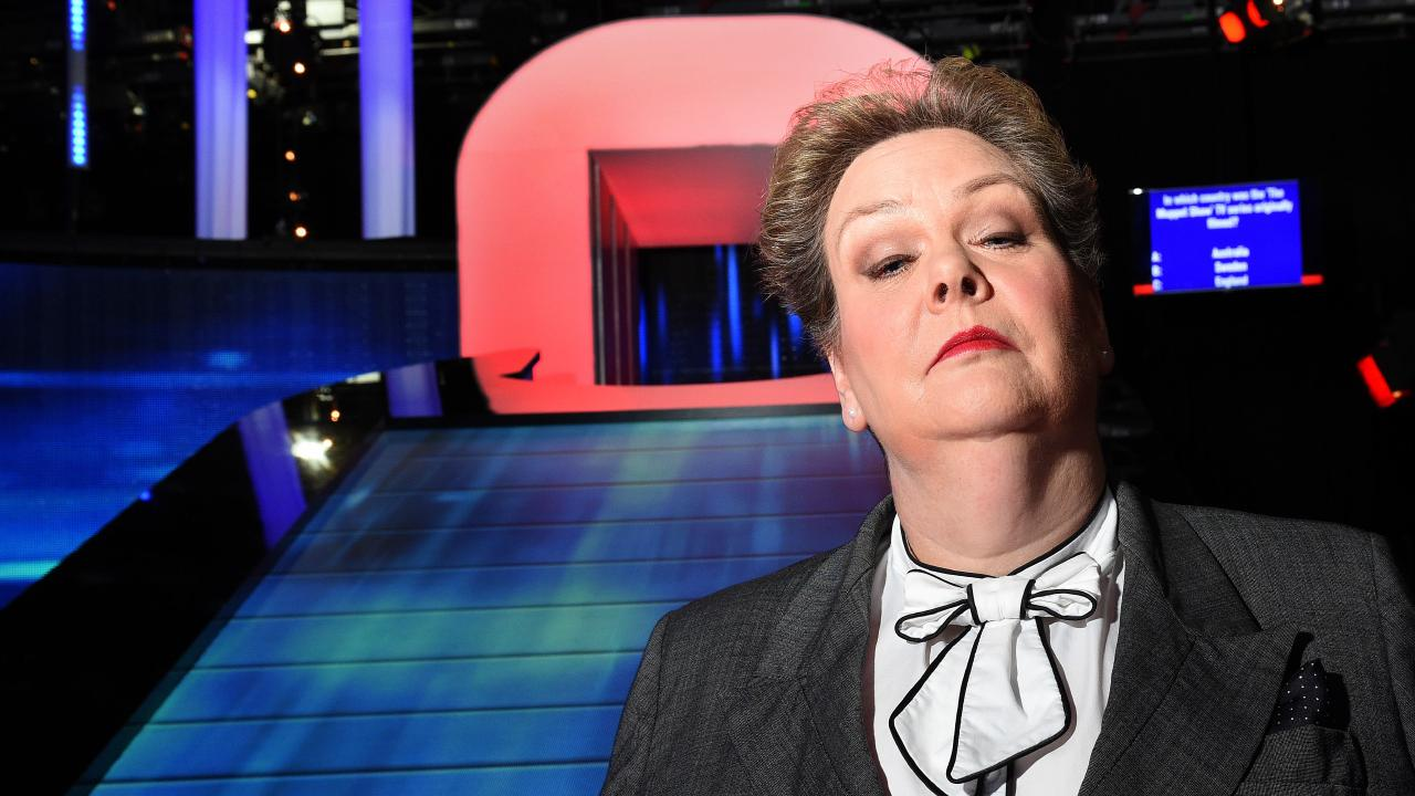 Anne Hegerty on set of The Chase.