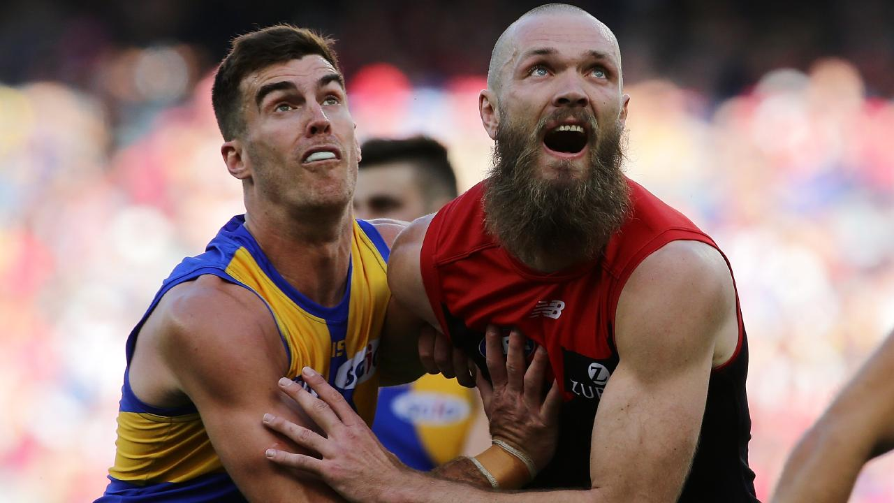 Max Gawn battles Eagkes big man Scott Lycett in the ruck. (Picture: Will Russell/Getty Images)