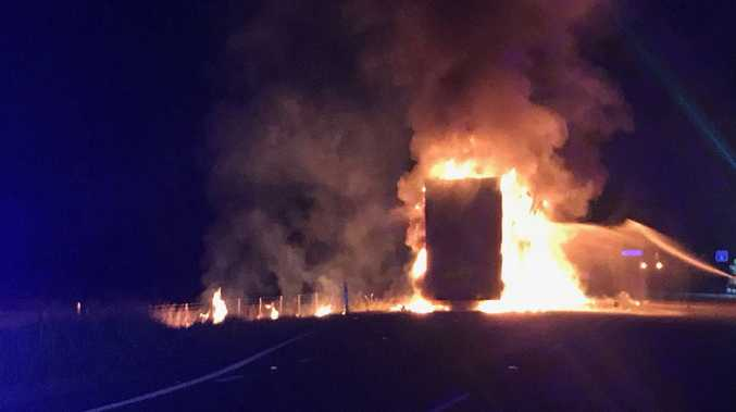 A truck fire on the Hume Highway.