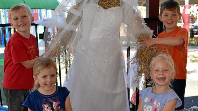 Biggenden and district Kindergarten children including Logan Spry, Pippa Curtain, Riley Jewess and Indigo Sharps have been busy making their scarecrow entries for the upcoming Biggenden Apex Rose Festival