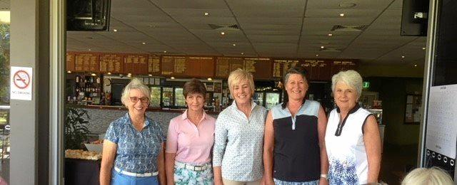 Golfers (from left) Meryl McCarthy, Leah Esler, Lynn Morgan, Deborah Erlandson and Julie Johnston at last Thursday's Toowoomba Golf Club Carnival Of Flowers Open Day event.