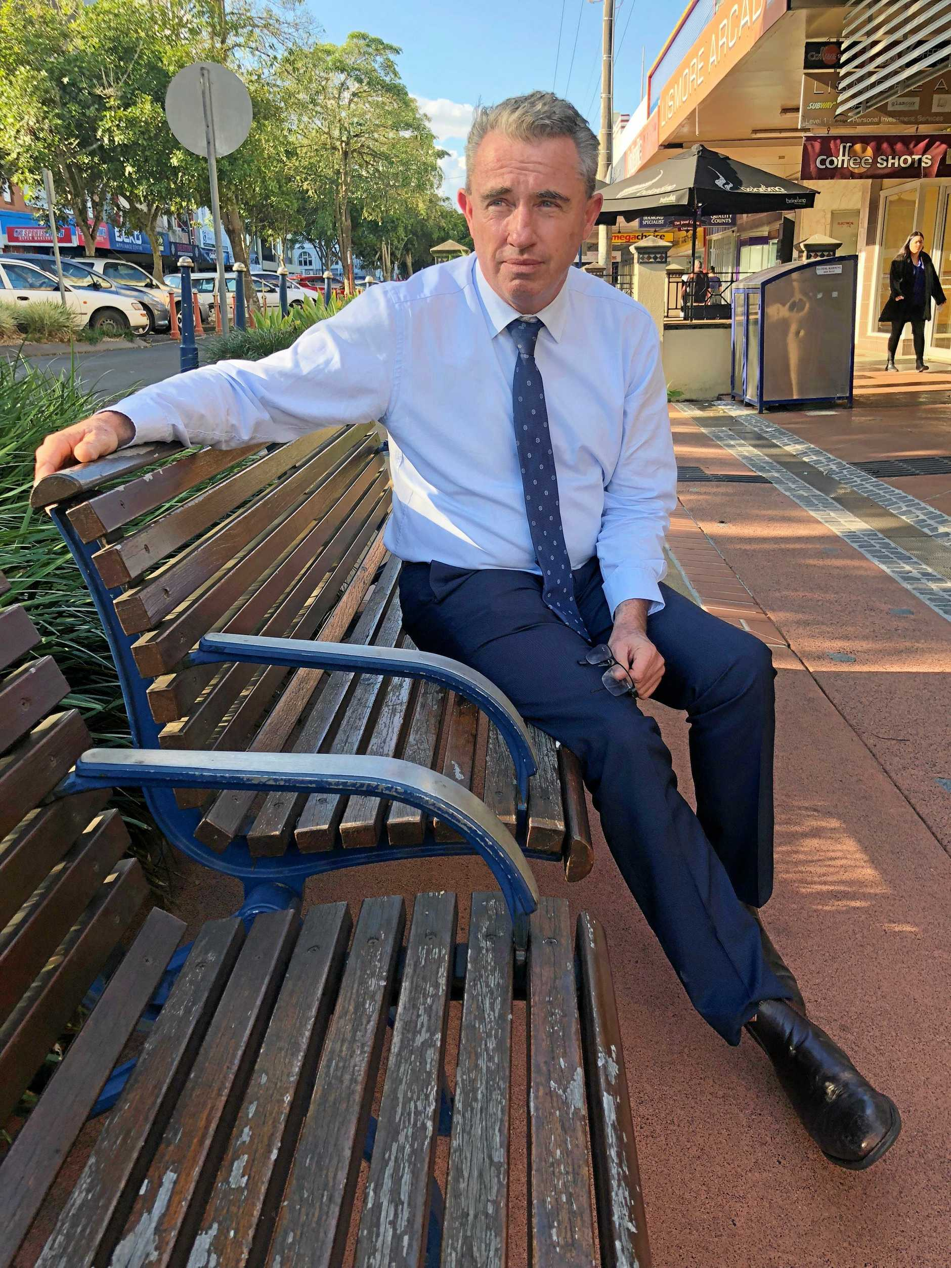 Federal member for Page, Kevin Hogan, happy to be back in his electorate outside his office in Lismore after last week's Liberal Party leadership spill in Canberra.