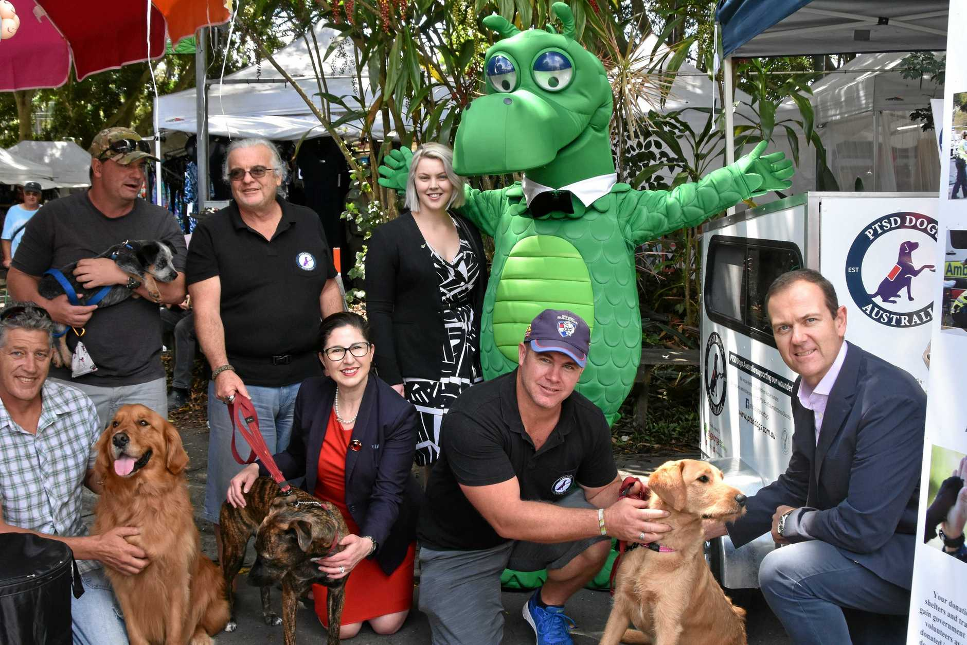 PTSD Dogs Australia with ex-veterans and St George Bank staff at Eumundi Markets on Wednesday.