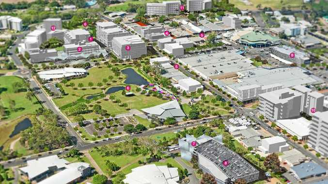 CBD VISION: An artist's impression of the Hervey Bay CBD Urban Renewal Master Plan, showcasing the new location of the council admin building (2), eat street (1), parking structure (8) and residential and office developments (10-12). A vote on the plan will be held in confidential at the council's meeting today.