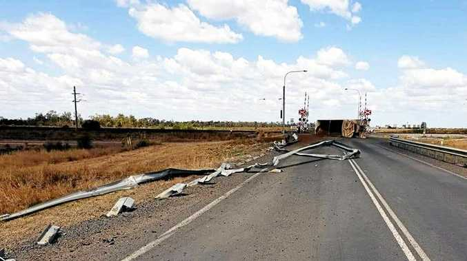 The aftermath of the truck rollover on the Peak Downs Highway near Dysart, which occurred early Wednesday afternoon.