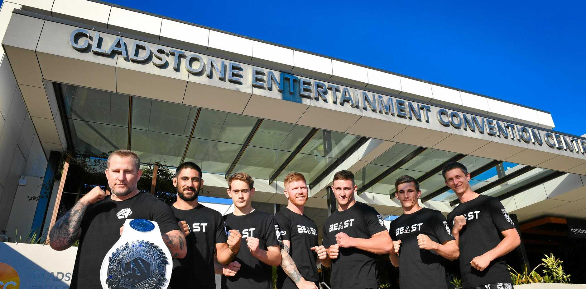 READY TO RUMBLE: Beast Academy head coach Jason Hoad and the Gladstone fighters who are competing on Saturday night's Mixed Martial Arts Aftershock 30.