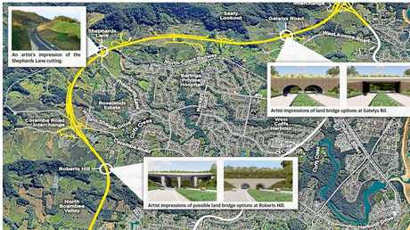 Two land bridge options are proposed for the Coffs Harbour Bypass and one cutting.