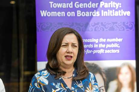 Queensland Premier Annastacia Palaszczuk speaks at the Women on Boards conference at the Armitage Centre Empire Theatres. Wednesday, 26th Sep, 2018.
