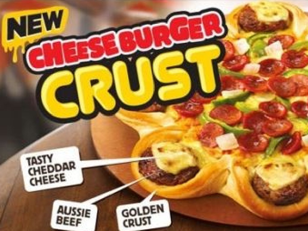 The Pizza Hut topping that featured a Cheeseburger crust. Picture: Supplied
